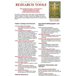 Library of Congress Research Tools