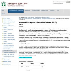 Master of Library and Information Science — TISS Admissions Website