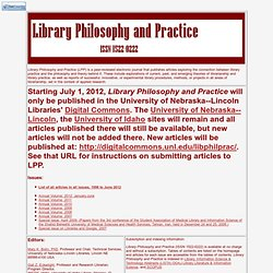 Library Philosophy and Practice title page