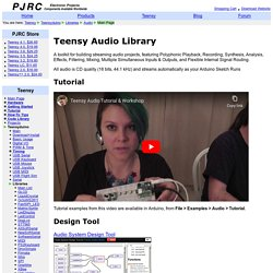 Teensy Audio Library, high quality sound processing in Arduino sketches on Teensy 3.1