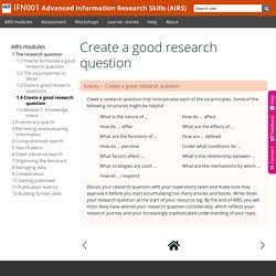 1.4 Create a good research question