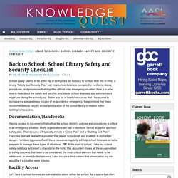Back to School: School Library Safety and Security Checklist