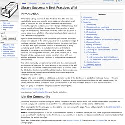 Library Success: A Best Practices Wiki - Library Success: A Best