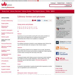Library terms and phrases - lrweb.beds.ac.uk