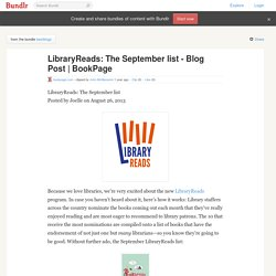 LibraryReads: The September list - Blog Post