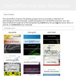 A collection of freely-licensed templates for LibreOffice Impress