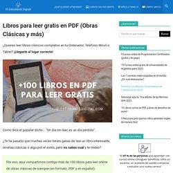 +100 Libros para leer Gratis en PDF (Obras Clásicas y más)