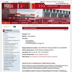 Université Paris 8 Arts plastiques, Photographie, Arts et technologie de l'image.