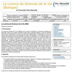 Licence SV (Biologie) AMU 2014 - Mention