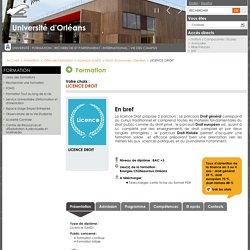LICENCE DROIT - Catalogue des Formations