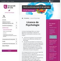 Licence de Psychologie - UFR de Psychologie