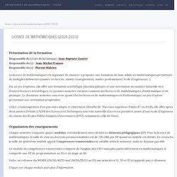 Licence de Mathématiques (2018-2023)