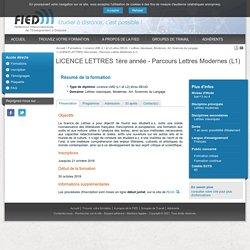 LICENCE LETTRES 1ère année - Parcours Lettres Modernes (L1) - FIED