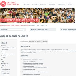 LICENCE SCIENCE POLITIQUE - Ametys