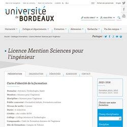 Licence Mention Sciences pour l'ingénieur