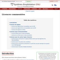 Liste des licences avec commentaires