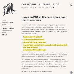 Livres en PDF et licences libres pour temps confinés – Éditions FLBLB