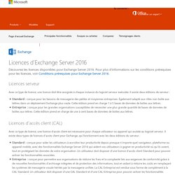 Gestion des licences Microsoft Exchange Server - Vue d'ensemble de la gestion des licences