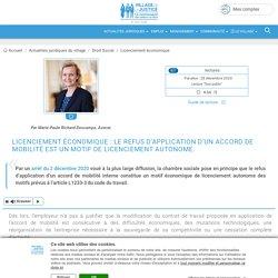 Licenciement économique : le refus d'application d'un accord de mobilité est un motif de licenciement autonome. Par Marie-Paule Richard-Descamps, Avocat.