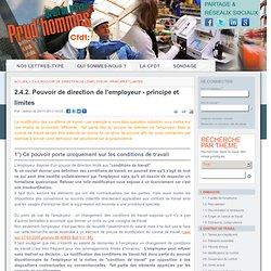 2.4.2. Pouvoir de direction de l'employeur - principe et limites