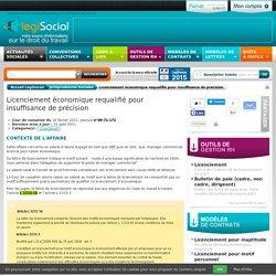 LégiSocial - Licenciement économique requalifié pour insuffisance de précision