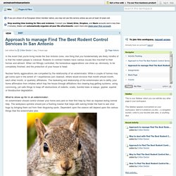 Approach to manage Find The Best Rodent Control Services In San Antonio?