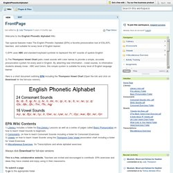 EnglishPhoneticAlphabet [licensed for non-commercial use only] / FrontPage