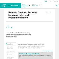 Remote Desktop Services licensing rules and recommendations