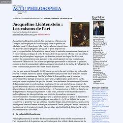Jacqueline Lichtenstein : Les raisons de l'art