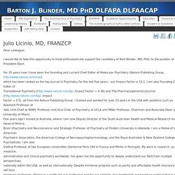 Julio Licinio, MD, FRANZCP - Barton J. Blinder, MD PhD DLFAPA DLFAACAP