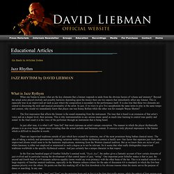 David Liebman: Educational Articles