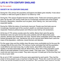 Life In The 17th Century