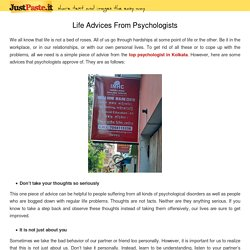 Life Advices From Psychologists