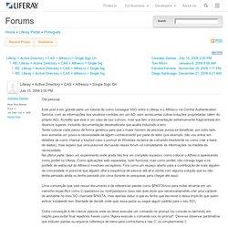 Active Directory + CAS + Alfresco = Single Sign On - Fóruns