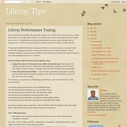 Liferay Tips: Liferay Performance Tuning