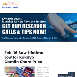 Feb '16 Saw Lifetime Low for Kokuyo Camlin Share Price – Dynamic Levels