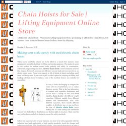 Lifting Equipment Online Store: Making your work speedy with used electric chain hoists