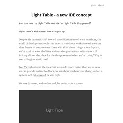 Light Table - a new IDE concept