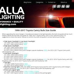 2006 2007 2008 2009 2010 2011 2012 2013 2014 2015 2016 2017 Toyota Camry Bulb Size Guide- Alla Lighting LED Headlight Fog Signal Back-up Reverse Tag Brake Light