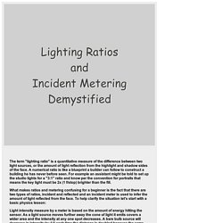 Lighting Ratios and Incident Metering Demystified