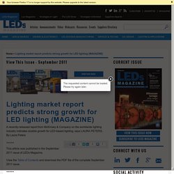 Lighting market report predicts strong growth for LED lighting (MAGAZINE)