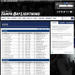 Lightning Roster - Tampa Bay Lightning - Team