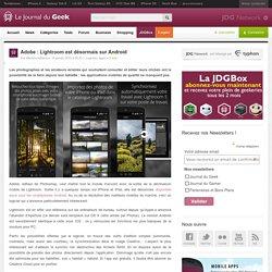 Adobe : Lightroom est désormais sur Android