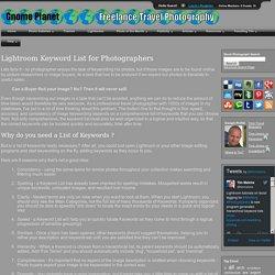 Lightroom Keyword List for Photographers