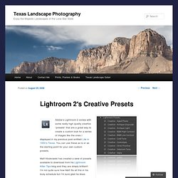 Lightroom 2′s Creative Presets