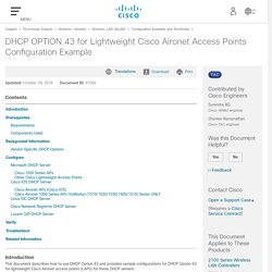 DHCP OPTION 43 for Lightweight Cisco Aironet Access Points Configuration Example