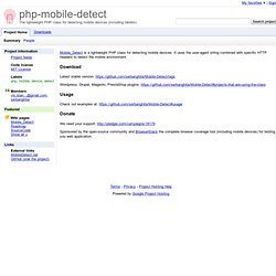 php-mobile-detect - PHP class for mobile device detection