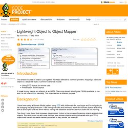Lightweight Object to Object Mapper. Free source code and progra