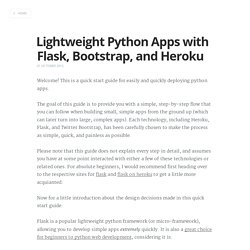 Lightweight Python Apps with Flask, Bootstrap, and Heroku