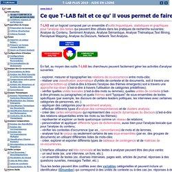 T-LAB PLUS 2019 - AIDE EN LIGNE - T-LAB Outils pour l'Analyse de Textes
